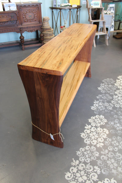 Console table handcrafted from wormy maple and walnut - Handmade in VA