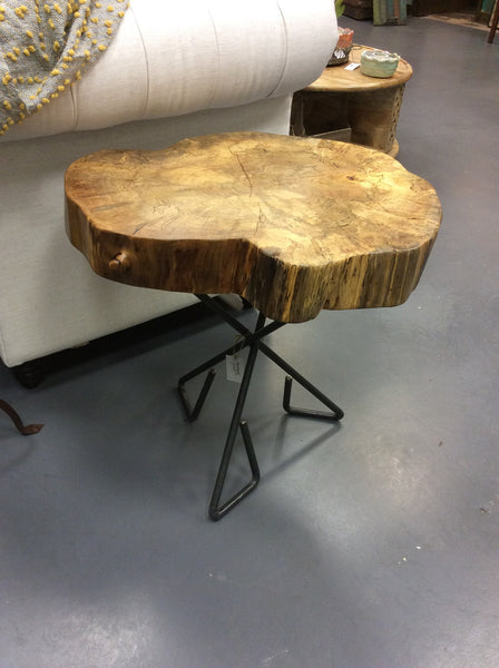 Distressed Elm Wood Tripod Steel Base Accent Table {Handcrafted by IronOak}