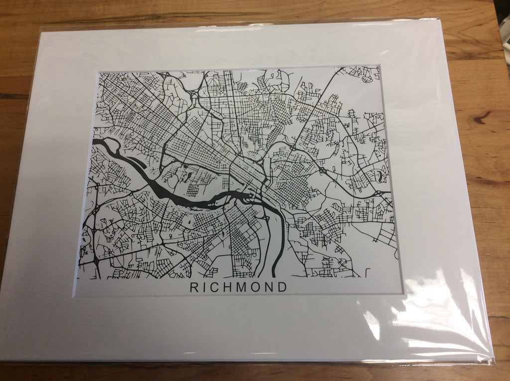 11x14 Matted Print - Richmond Map - Black & White