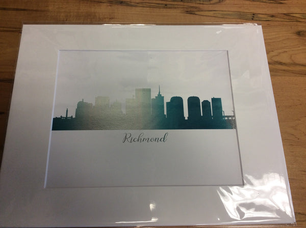 11 x 14 matted print of Richmond (Blue & Silver)