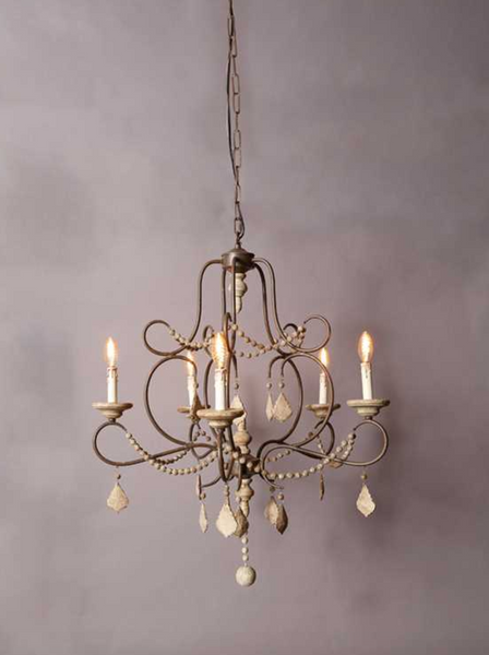 5-light Iron and Wood Crystal Bead Chandelier