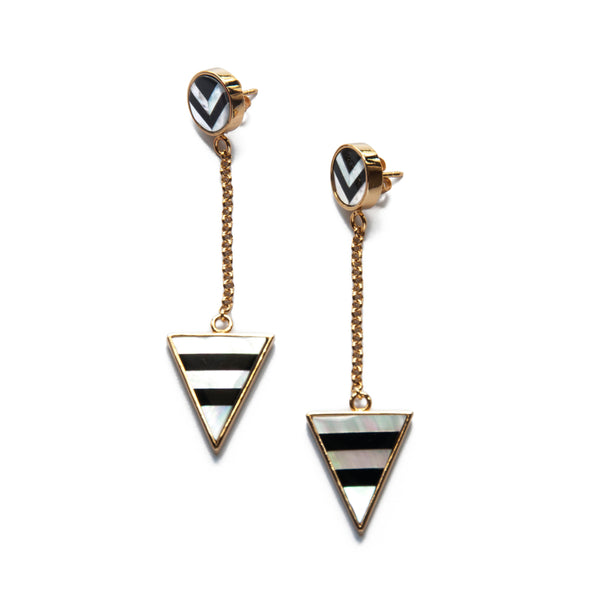 Rhonda Earrings - Black & White