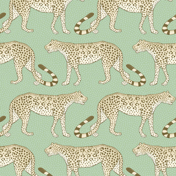 Leopard Walk - Olive & White - Wallpaper Trader