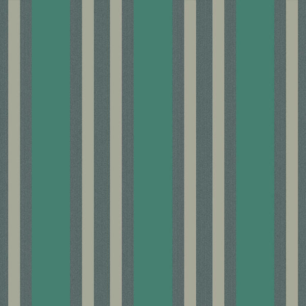 Polo Stripe - Teal and Gilver