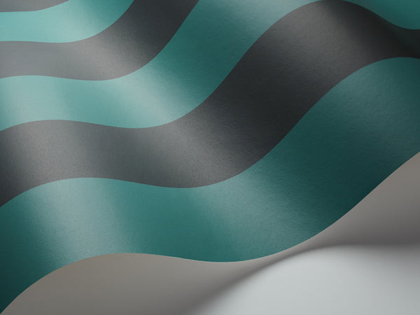 Glastonbury Stripe - Teal and Charcoal - Wallpaper Trader