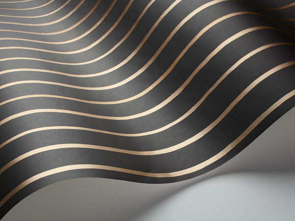 College Stripe - Charcoal and Gold - Wallpaper Trader