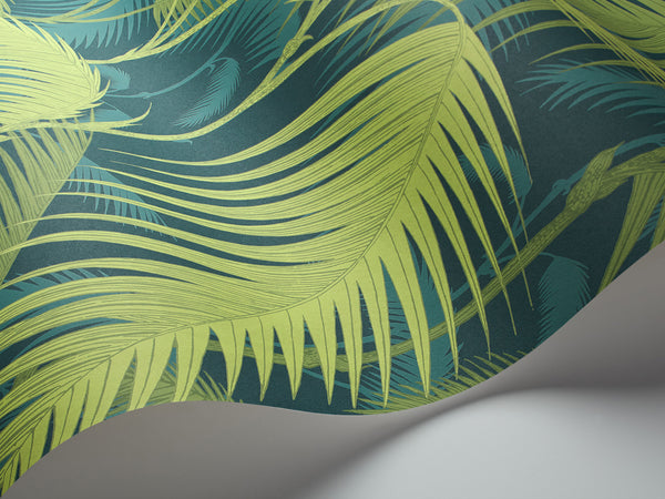 Palm Jungle - Petrol and Lime - Wallpaper Trader