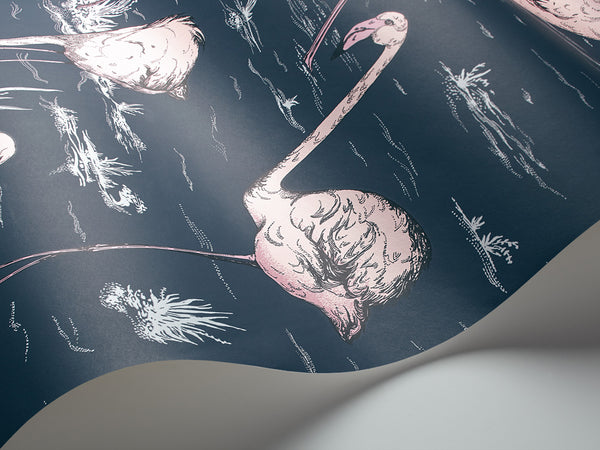 Flamingos - Ink and Alabaster Pink - Wallpaper Trader