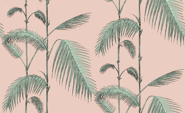 Palm wallpaper - pink and mint - wallpaper trader
