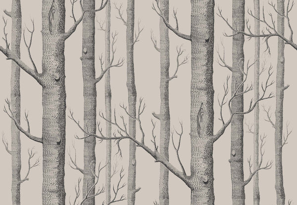 Woods - Linen and Charcoal - Wallpaper Trader