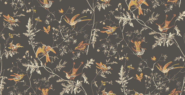 Hummingbirds - Charcoal & Ginger - Wallpaper Trader