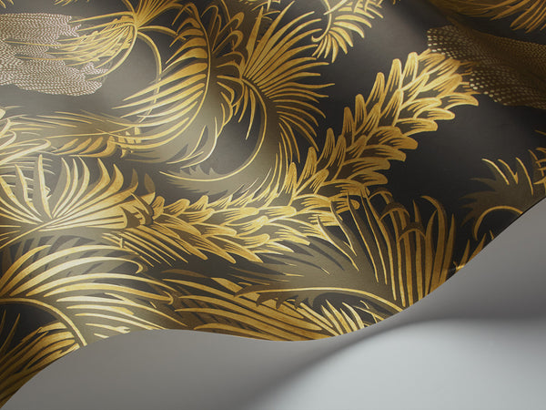 Hollywood Palm - Charcoal and Gold - Wallpaper Trader