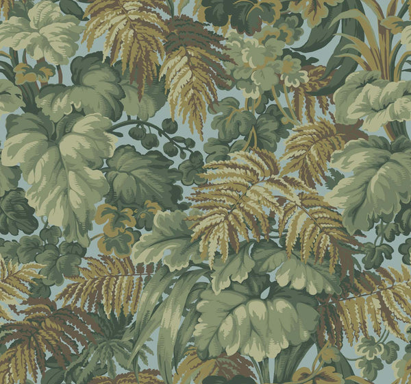 Royal Fernery - Green on Blue - Wallpaper Trader