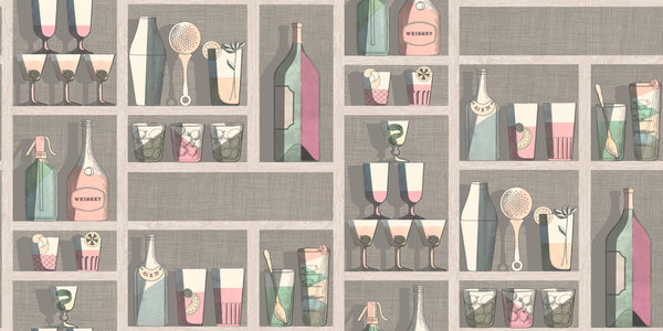 Cocktails  - Multicolor on Sterling - Wallpaper Trader