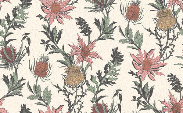 Thistle- Touch of Rouge and Rich Rouge on White - Wallpaper Trader