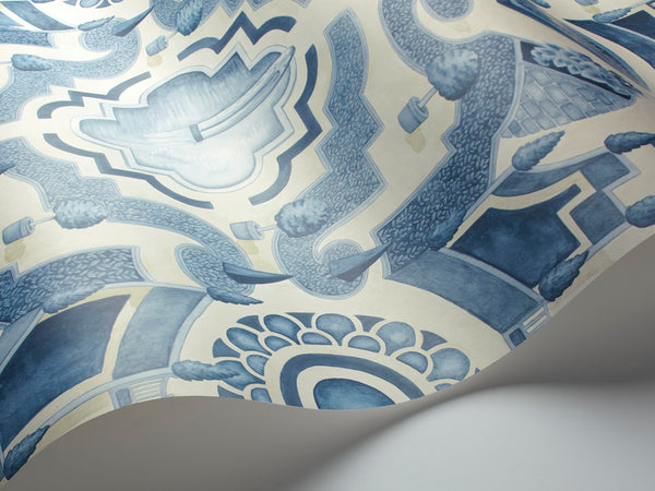 Topiary- China Blue on white - Wallpaper Trader