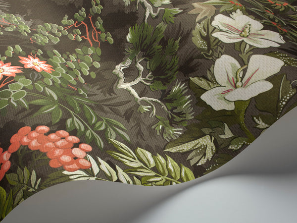 Woodland-  Raspberry Souffle  & Olive on charcoal - Wallpaper Trader