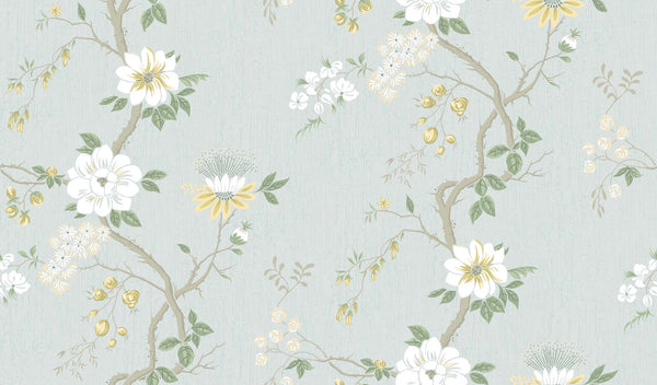 Camellia-Lemon & Sage on Print Room Blue - Wallpaper Trader