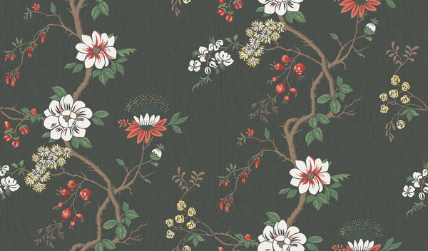 Camellia-White & Red on Charcoal - Wallpaper Trader