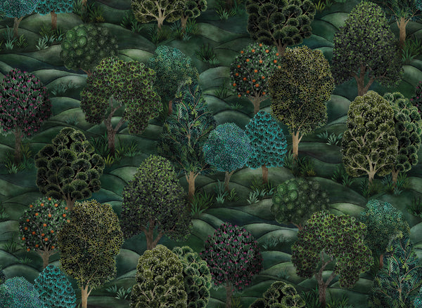 Forest- Leaf Green and Pigeon Blue - Wallpaper Trader
