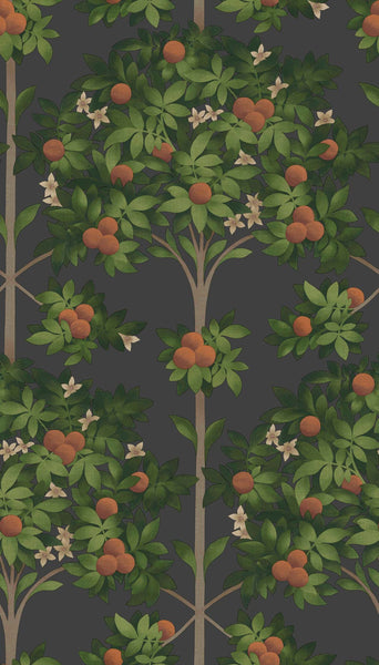 Orange Blossom -  Moody Orange & Spring Green - Wallpaper Trader