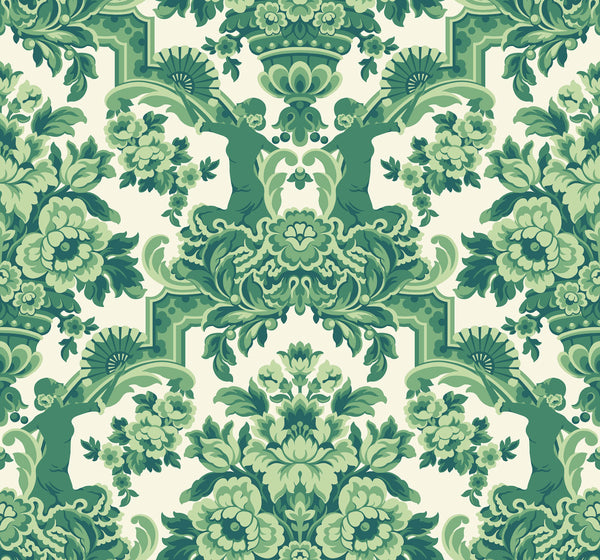 Lola-Forest Greens on White - Wallpaper Trader