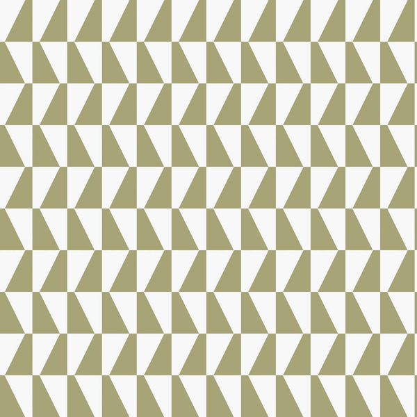 Trapeze - Olive on White - Wallpaper Trader