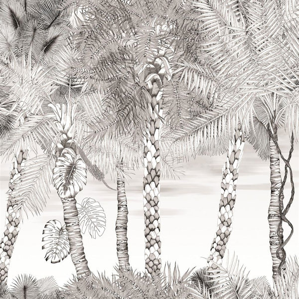 Croisette Mural - Black & White - Wallpaper Trader
