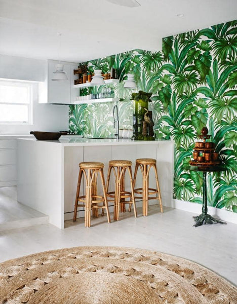 Versace tropical palm wallpaper features large scale hand painted green tropical palm leaves on a white background perfect contemporary wallpaper for kitchen in sydney