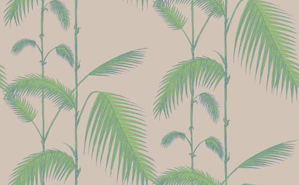 Palm Leaves - Green on Taupe