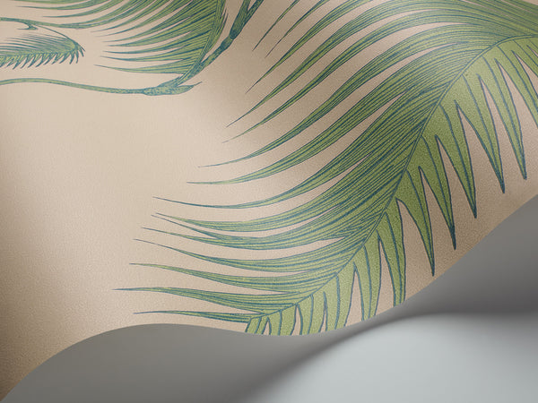 Palm Leaves - Green on Taupe - Wallpaper Trader