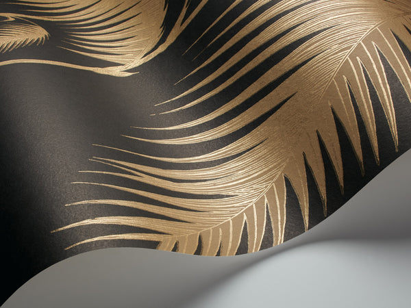 Palm Leaves - Gold on Black - Wallpaper Trader