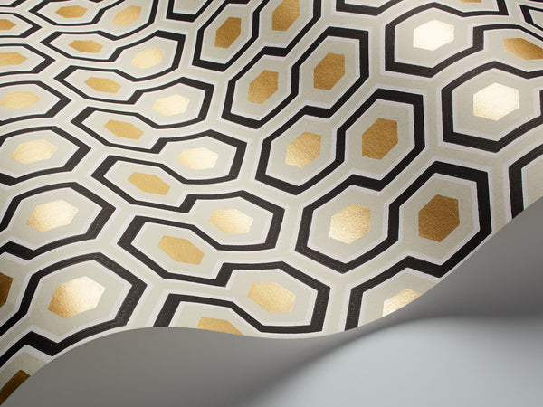 Hicks Hexagon - Charcoal & Gold - Wallpaper Trader