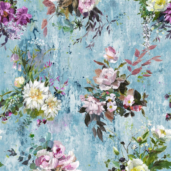 Aubriet Floral - Blue - Wallpaper Trader