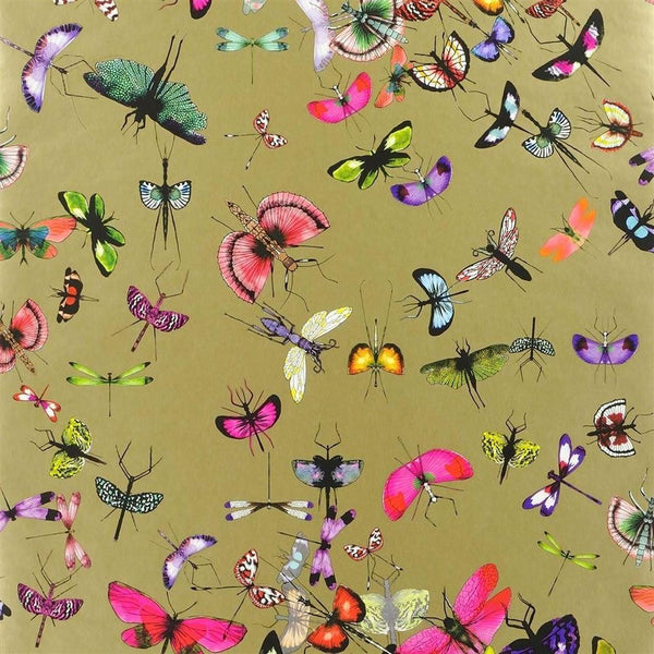 Mariposa Butterfly - Metallic Gold - Wallpaper Trader