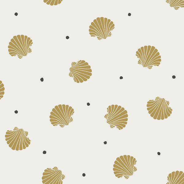 Rio Shells - Mustard - Wallpaper Trader