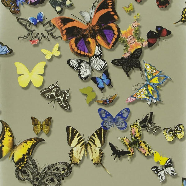 Butterfly Parade - Taupe - Wallpaper Trader