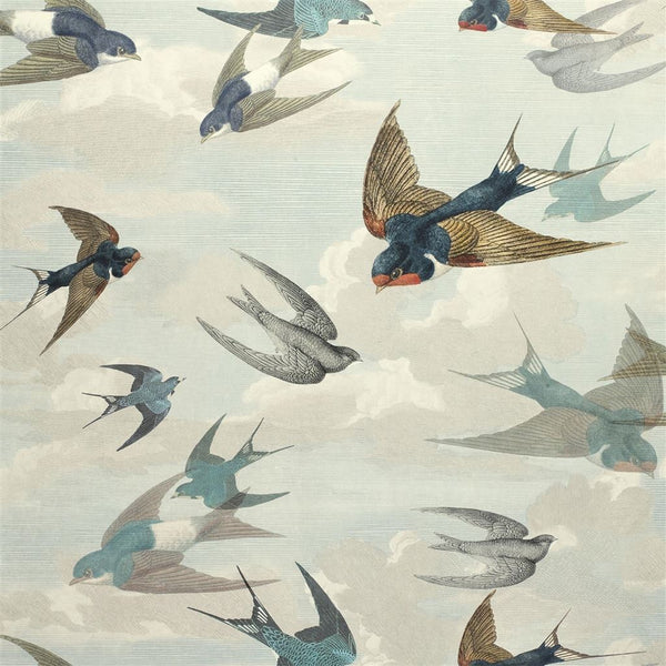 John Derian Picture Book Papers Chimney Swallows Sky Blue Wallpaper