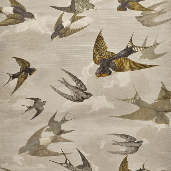 John Derian Picture Book Papers Chimney Swallows Sepia Wallpaper