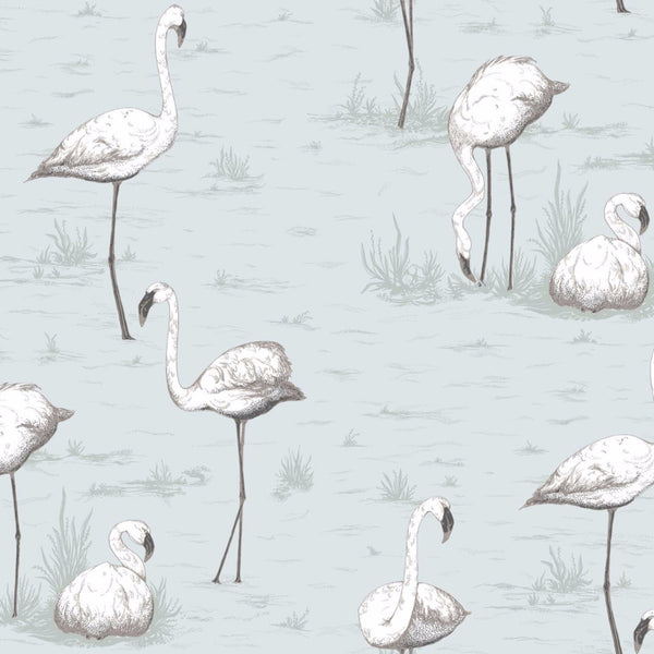 Flamingos - Charcoal on Aqua - Wallpaper Trader