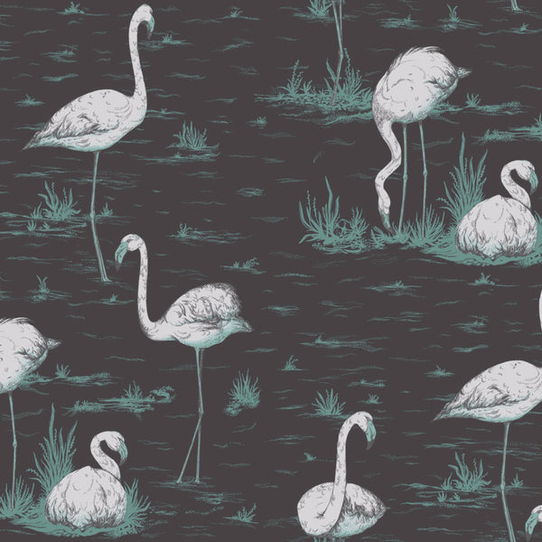Flamingos - Teal & Silver On Black