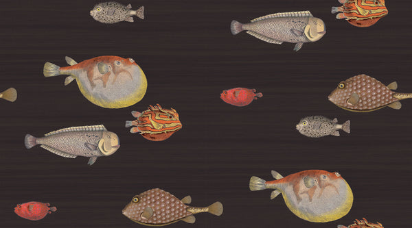 Acquario Fish - Ink Black - Wallpaper Trader