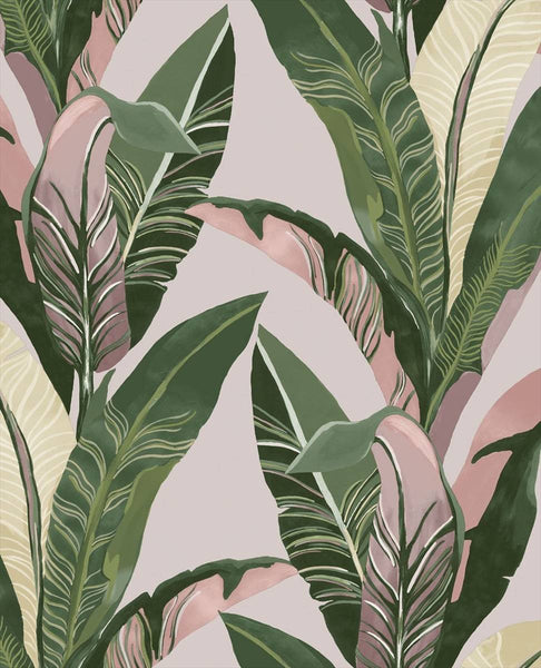 Lush Palms - Green on Pink