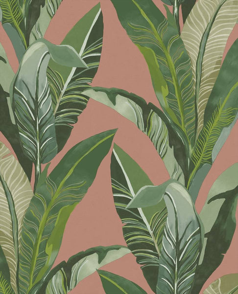 Lush Palms - Green on Terracotta