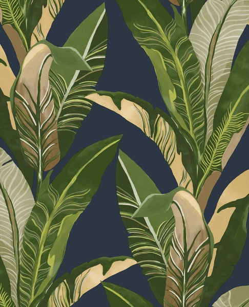 Lush Palms - Green on Blue