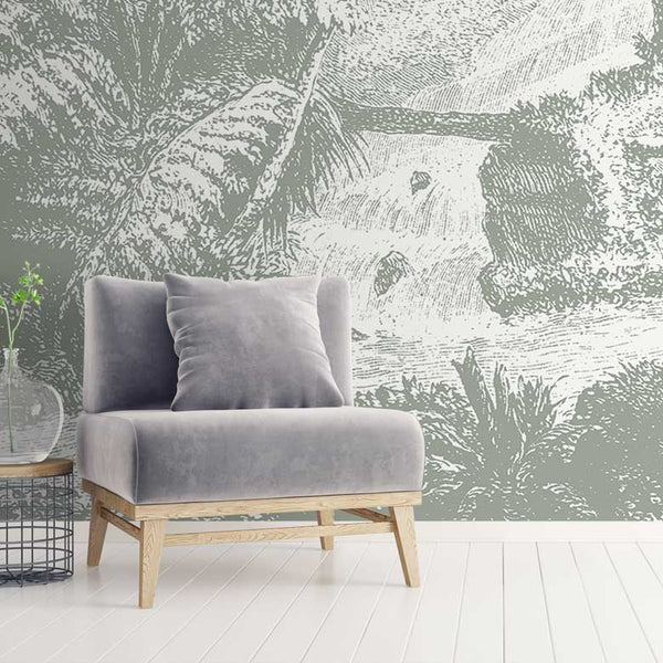 Amazonia Jungle Wall Mural - Grey