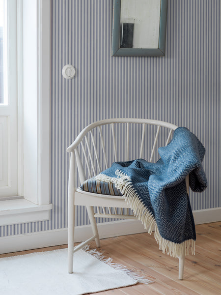 Aspö Stripe -  Blue and White - Wallpaper Trader