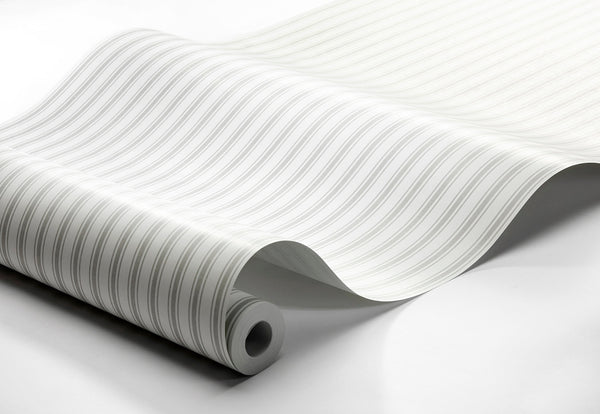 Aspö Stripe - White and Grey - Wallpaper Trader