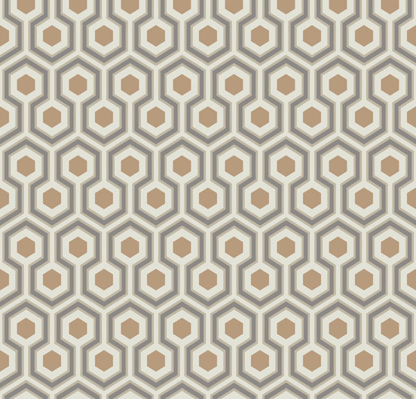Hicks Hexagon - Gold & Taupe