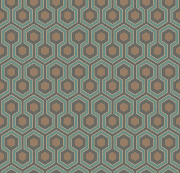Hicks Hexagon - Teal & Gold - Wallpaper Trader